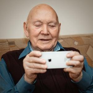 Older man brain training mobile app
