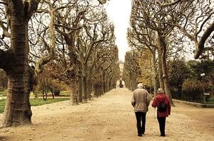 older couple walking together in the park