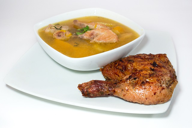 chicken broth on plate with chicken