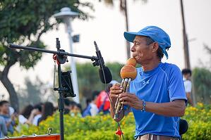 Man playing music outside in a park