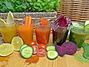 colorful fruit and vegetable smoothies