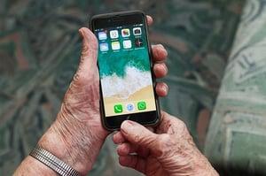 grandmother using iphone
