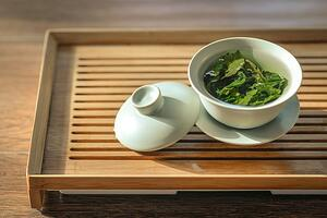 green tea in pot with lid off
