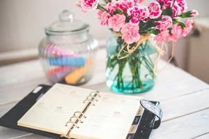 organizer planner on desk