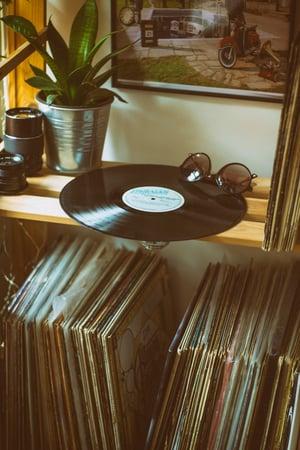 Vinyl record on shelf