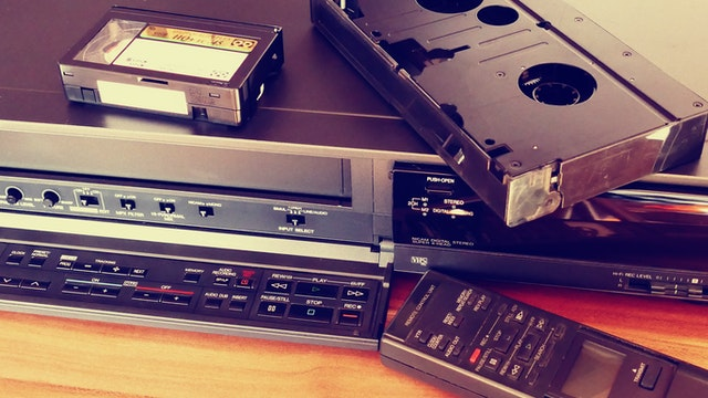 video cassette and vcr with remote old tech