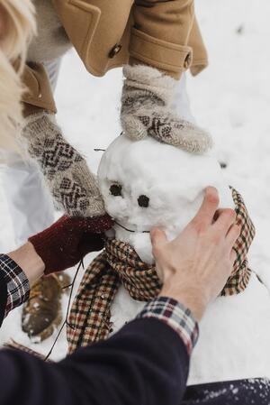 Making a snowman together