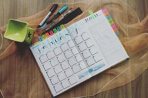 Monthly schedule planner color coded