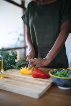 preparing healthy foods cooking