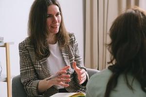 Woman seeking help from professional therapist