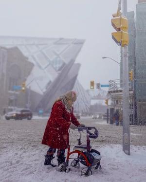 walker in snow