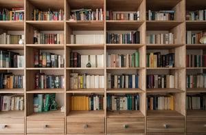 home bookshelf full of books