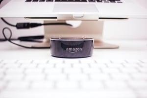 Amazon Alexa in front of Computer