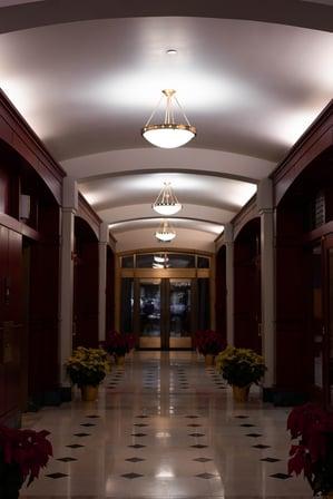 dimly light hallway with tripping hazards