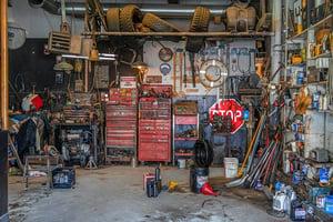 Clutter in garage shop area
