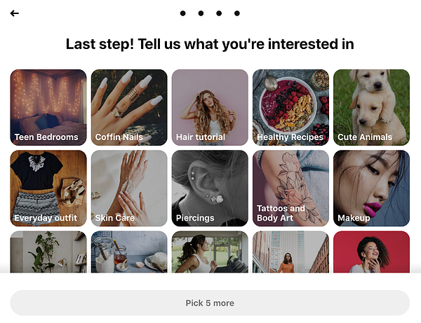 Pinterest - Enter your interests