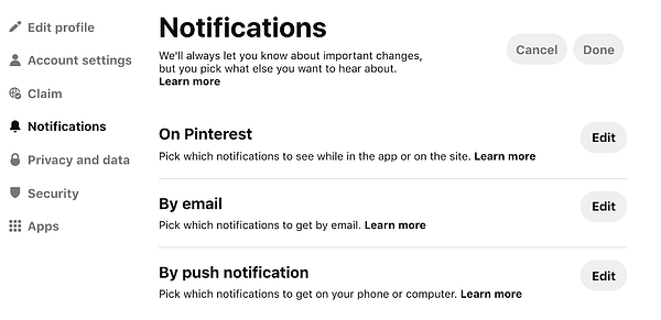 Pinterest - notifications