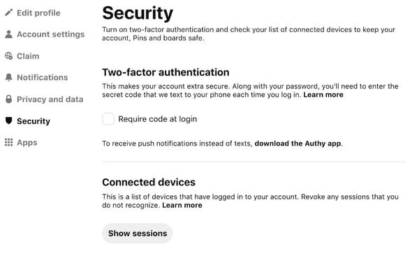Pinterest - Security