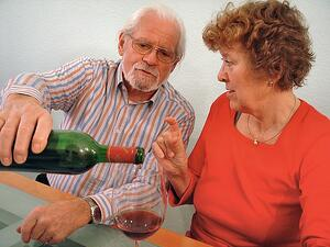 Couple drinking wine together